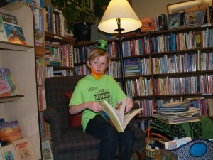 young reader at leprechaun party