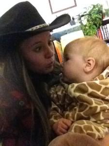 giraffe and cowgirl