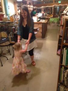 Sarah was inspired to dance a little jig with cousin Katie.