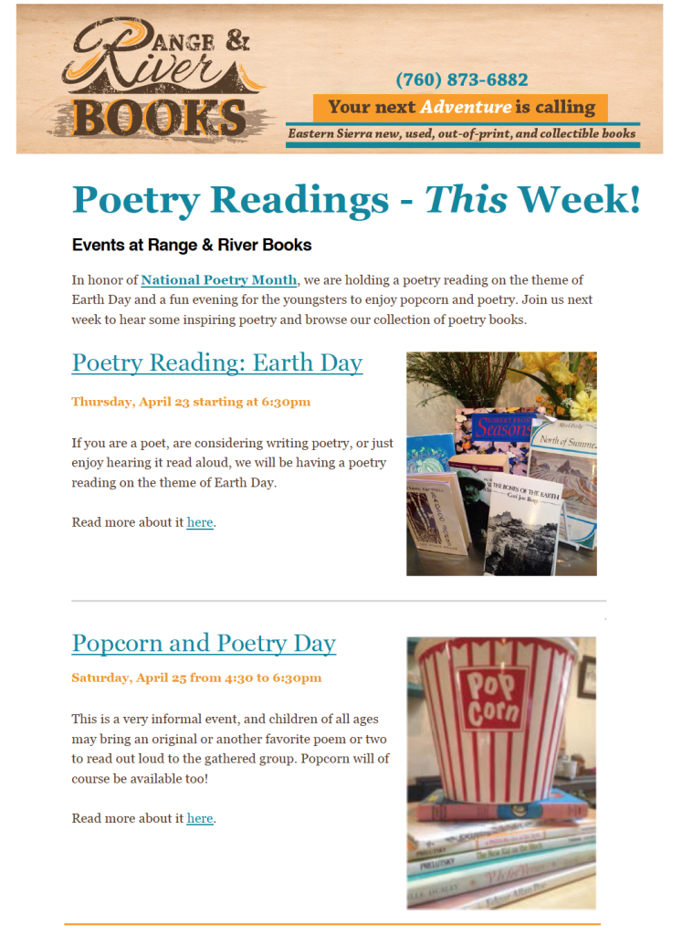 April e-newsletter: Poetry Readings and bookstore news worth reading