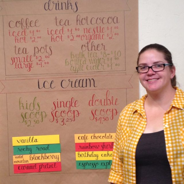 Another amazing artworkflavor board by Courtney! rangeandriverbooks alwaystimeforicecream signlettering